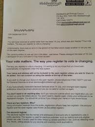 middlesbrough council electoral roll letter blunder will cost the