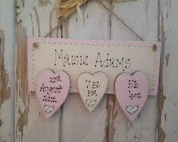 three heart baby girl wooden plaque personalised wooden plaque