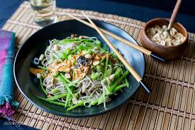 soba noodles with edamame and spicy peanut sauce saving room for