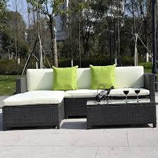 Costway Outdoor Patio Pc Furniture Sectional Pe Wicker Rattan - Wicker sofa sets