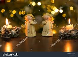 Christmas Decoration Table Candle Christmas Decorationgypsum Angels Decorated Candles On Stock Photo