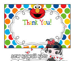 thank you card made to match any of my birthday invitations