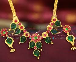 red stones gold necklace images Nl3562 gold plated kemp mango design stones red green spinel ruby JPG
