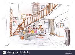 interior design sketch home interior design colored hand drawn sketch of living room