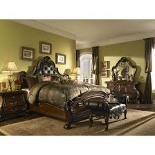 Mansion Bedroom Furniture Sets by Aico Michael Amini Palace Gates Tufted Leather Mansion Bedroom Set