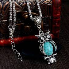 natural stone necklace wholesale images Cute jewels owl vintage natural stone necklace cutejewels jpg