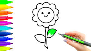 how to draw flower and coloring colouring book for kids with