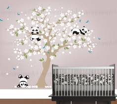 stickers panda chambre bébé sticker mural panda pandas ludiques à cherry blossom arbre