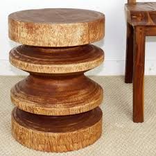 teak wood end table 18 x 14 round zig zag wood end table natural wood decor