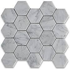 carrara white marble hexagon mosaic tile 3 inch honed