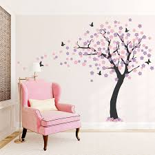 wall vinyl decorating large cherry blossom tree wall decal with tree wall