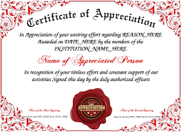 sample text for certificate of appreciation certificate of appreciation informal template