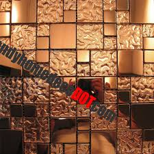 sample copper metal pattern textured glass mosaic tile for