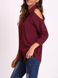 open shoulder blouse burgundy open shoulder blousefor romwe