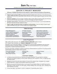 it manager resume exles experienced it project manager resume sle