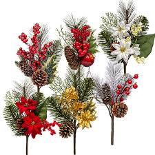 bulk artificial pine floral picks at dollartree