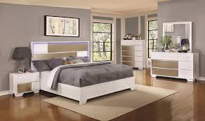 Silver Queen Bed 4 Pc White U0026 Silver Queen Bed W Led Headboard Lights Bedroom