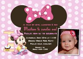 Create 1st Birthday Invitation Card For Free Minnie Mouse First Birthday Invitations Plumegiant Com