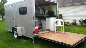 Diy Hard Floor Camper Trailer Plans Woman Converts Cargo Trailer Into Stealthy And Cozy Off Grid Rv