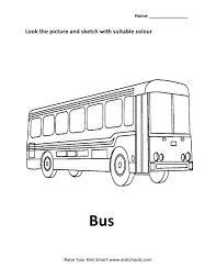 vehicles colouring worksheet bus kidschoolz