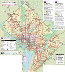 Washington Dc On Map Large Metrobus Route Map Of Washington D C Washington D C Large