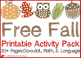 free fall printable activity pack dot pages math