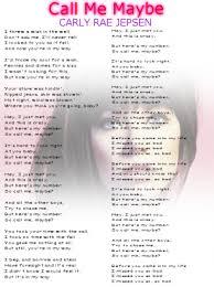 printable lyrics carly rae jepson call me maybe lyrics sheet
