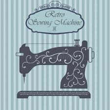 retro sewing machine with floral ornament on background