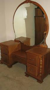 antique dressing table with round mirror 1958 vintage quarter sawn
