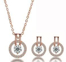 swarovski necklace set images Rose gold double halo swarovski elements necklace and earrings set jpg