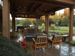 decorating outside for fall outdoor covered patio with fire pit