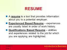Resume Order Of Jobs Career Planning And Development Ppt Video Online Download