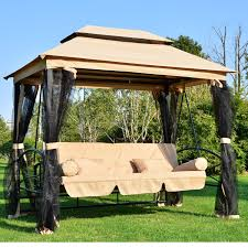 snazzy swing day bed design having charming brown canopy shade