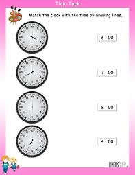Time Clock Worksheets Match The Clock With The Time Mathsdiary Com