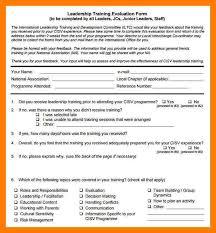 training manager performance appraisaltraining evaluation form