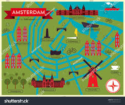 Map Of Amsterdam City Map Illustration Amsterdam Landmarks Vector Stock Vector