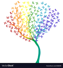 rainbow butterflies tree royalty free vector image