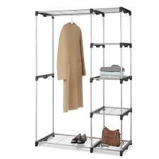 double rod closet garments storage organizer hanging bar shelves