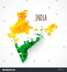 India On A Map Map India Three Colors Indian Flag Stock Vector 461867536