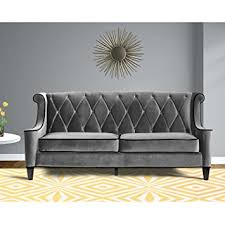 Amazon Furniture Sofas by Amazon Com Armen Living Lc8443gray Barrister Sofa In Grey Velvet