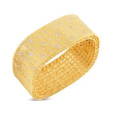 satin finish wide bangle with fleur de lis diamonds in gold