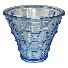 Orrefors Vase Orrefors Faceted Glass Vase Blue Circa 1930 From