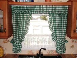 retro kitchen curtains red white and green printed curtain cotton