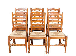Dining Chair Seats Of Six Oak Ladder Back Seat Dining Chairs