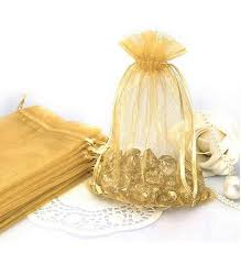 gold favor bags 60 drawstring sheer organza pouches jewelry bags wedding party