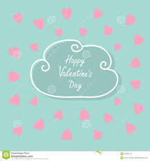 Pink Flat Color Happy Valentines Day Love Card Cloud Contour Line Frame Heart