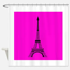 Pink Black And White Shower Curtain Paris Pink And Black Shower Curtains Cafepress