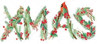xmas background watercolor christmas tree bird holly branches