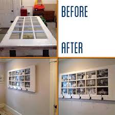 repurposed door into coat hanger and picture frame in one
