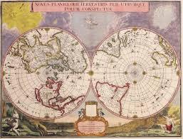 Antique World Map by Antique Map Novus Planiglobii Terrestris Per Utrumque Polum